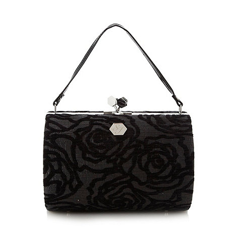 Top Hat by Stephen Jones - Designer black metallic rose evening bag