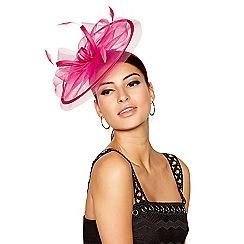 Star by Julien Macdonald - Pink mesh satin bow feather mini saucer fascinator headband