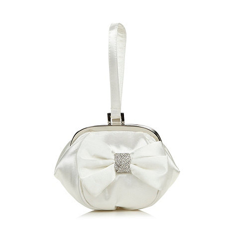 Debut - Ivory satin diamante bow clutch bag