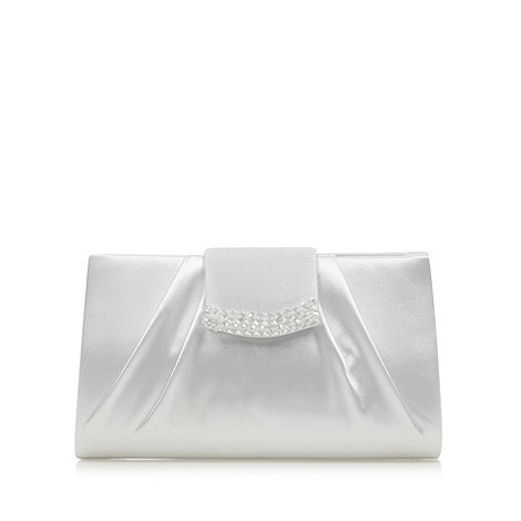 Debut - Ivory glass beaded flap over clutch