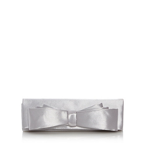 Debut - Silver satin bow clutch bag