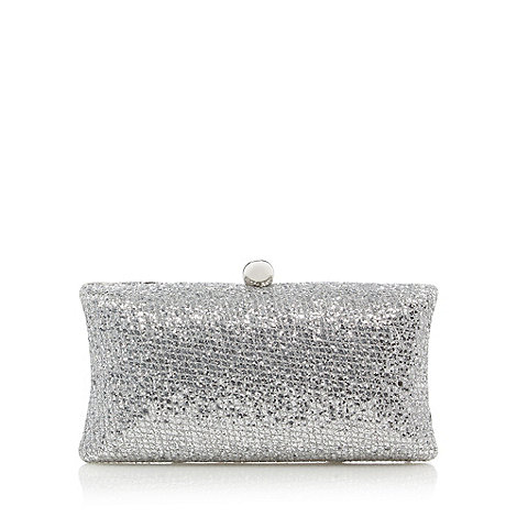 Debut - Silver glitter moulded clutch bag