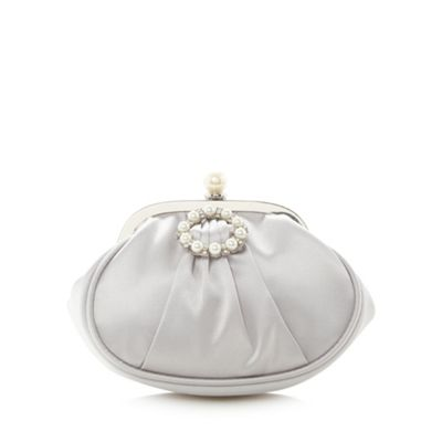 Debut Silver crystal embellished clasp pouch