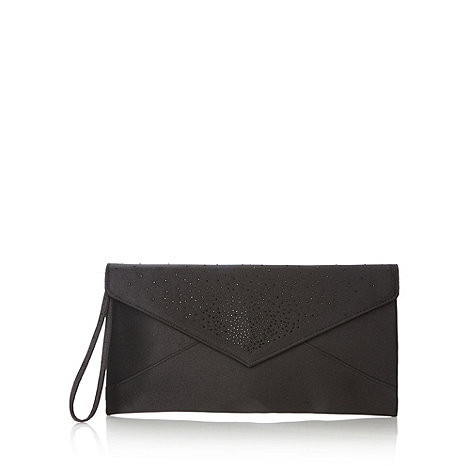 Debut - Black scattered stone envelope clutch bag