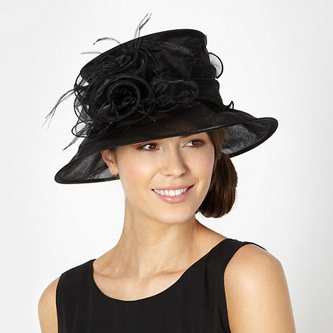 Hatbox - Black mesh ribbon feather corsage hat