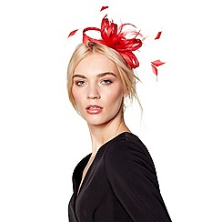 J by Jasper Conran - Red 'Amy' feather bow fascinator