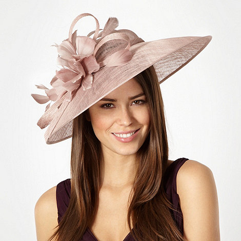 Hatbox - Pale pink mesh saucer looped bow feather fascinator