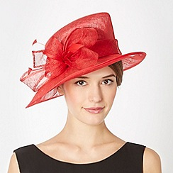 Hatbox - Red mesh looped bow feather hat