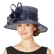Navy looped feather corsage hat