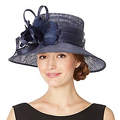 Hatbox - Navy looped feather corsage hat