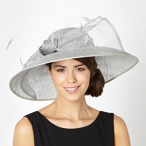 Hatbox - Grey weave beaded bow wide brim hat