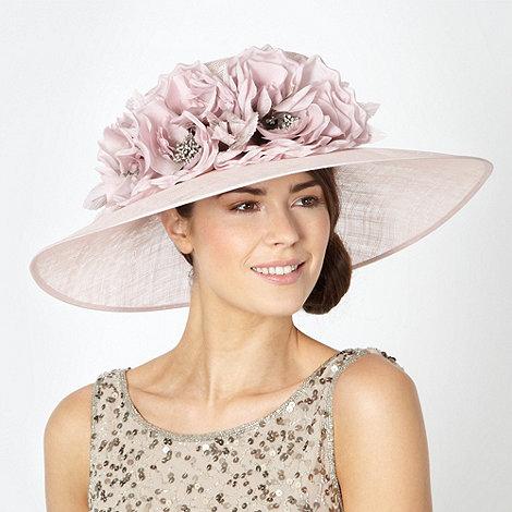 Hatbox - Pink weave triple floral corsage hat