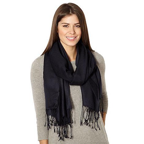 J by Jasper Conran - Designer navy tassel satin pashmina scarf