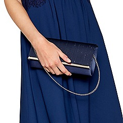 Debut - Navy sparkle ruched clutch bag