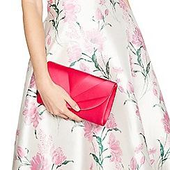 Debut - Bright pink satin pleat clutch bag