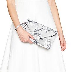 Debut - Grey floral print envelope clutch bag
