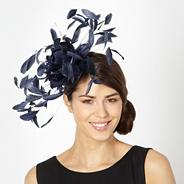 Designer navy feather corsage fascinator