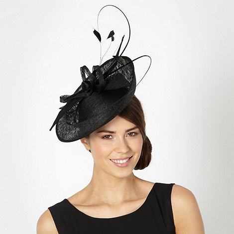 J by Jasper Conran - Designer black bow dipped saucer fascinator