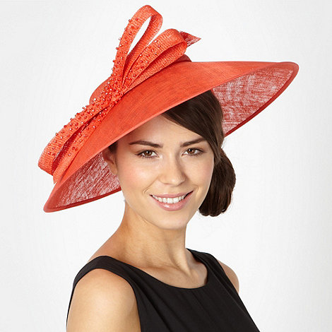 J by Jasper Conran - Designer orange beaded bow saucer fascinator