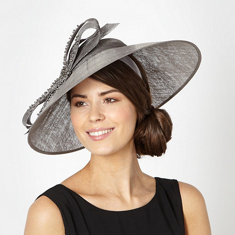 J by Jasper Conran - Designer grey beaded bow saucer fascinator