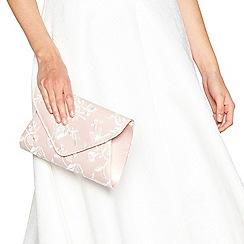 Debut - Pink floral embroidered envelope clutch bag