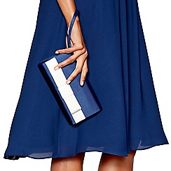 Debut - Navy two tone bow detail clutch bag