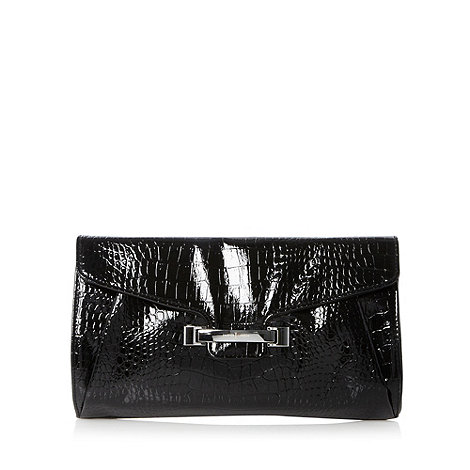 J by Jasper Conran - Designer black patent mock croc clutch bag