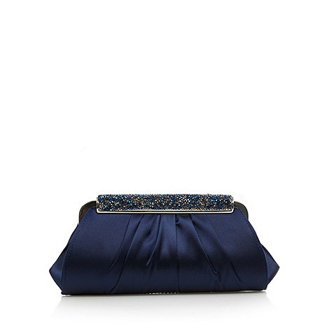 J by Jasper Conran - Designer navy satin embellished clutch bag