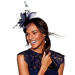 Debut - Navy feather flower fascinator headband