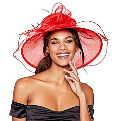 Debut - Red bow feather oversized packable hat