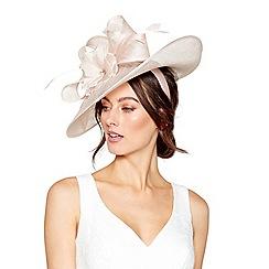 Debut - Pink Diamante feather flower saucer headband fascinator