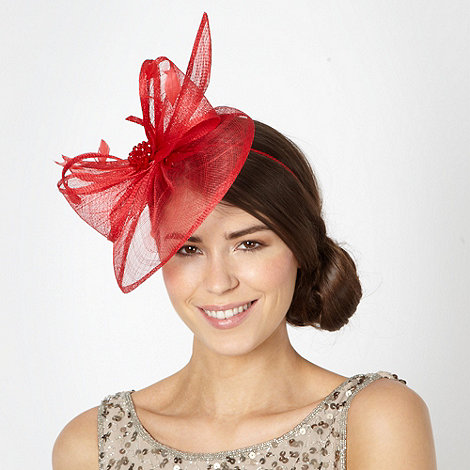 Star by Julien Macdonald - Designer red beaded layered bow fascinator