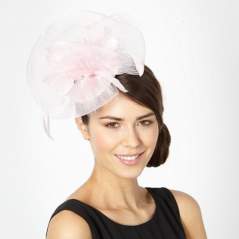 Star by Julien Macdonald - Designer pale pink mesh feather fascinator