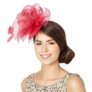 Designer dark pink mesh feather fascinator