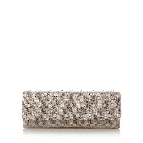 Star by Julien Macdonald - Designer cream metallic stone front clutch bag