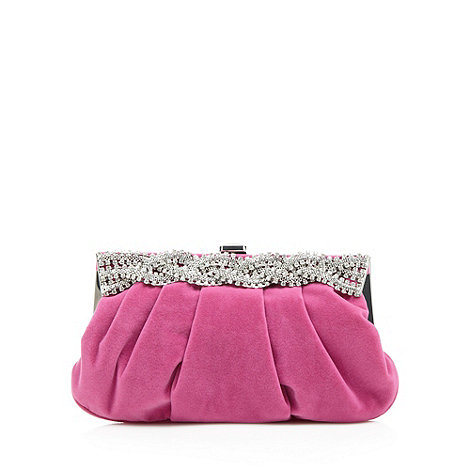 Star by Julien Macdonald - Designer bright pink plaited crystal frame purse