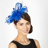 Designer blue feather bow fascinator