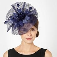 Designer navy grid mesh ruffle feather fascinator