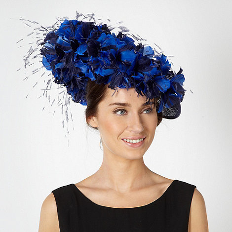 Principles by Ben de Lisi - Designer navy feather blossom crescent fascinator