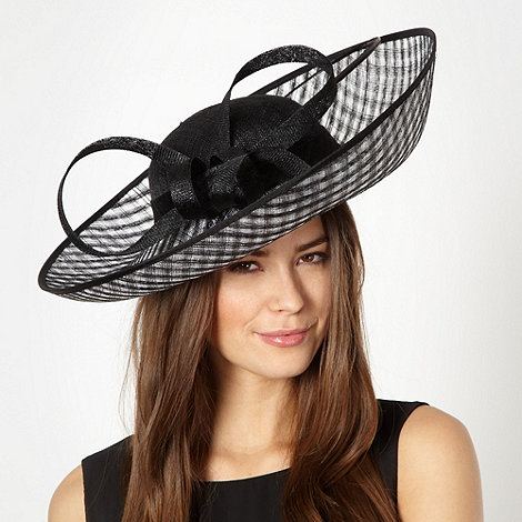 Principles by Ben de Lisi - Designer black checked extreme up brim fascinator