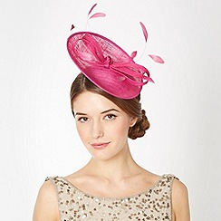 Debut - Pink small saucer feather bow fascinator