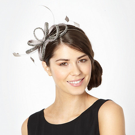 Debut - Grey beaded feather bow headband