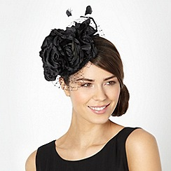 Debut - Black veiled flower feather fascinator