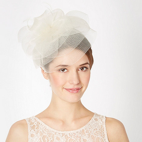 Debut - Ivory layered mesh feather fascinator