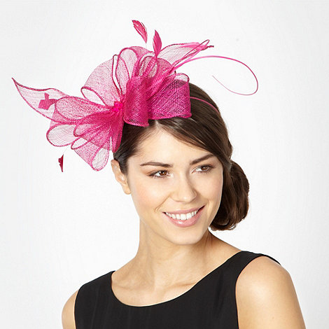 Debut - Dark pink mesh layered bow fascinator