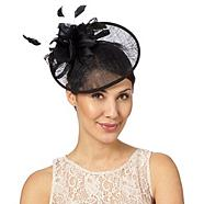 Black feather corsage saucer headband