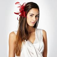 Red loop & feather hair clip fascinator