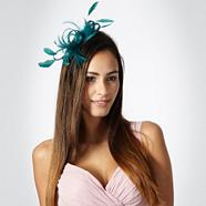 Turquoise loop & feather hair clip fascinator
