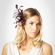 Purple 'lamour' feathered clip