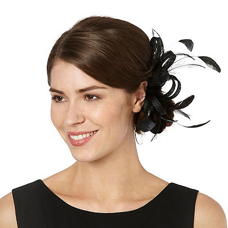 Debut - Black loop & feather hair clip fascinator